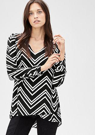 Crêpe blouse met een zigzagpatroon