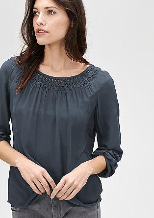 Crêpe blouse met sierkraagje