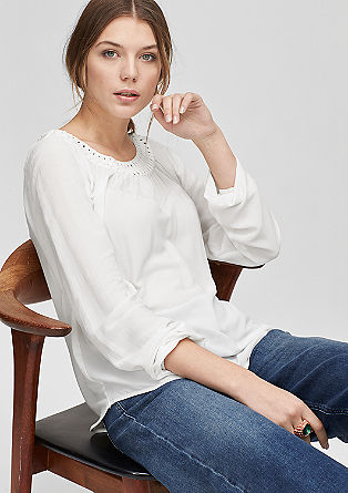 Crêpe blouse with a decorative collar from s.Oliver