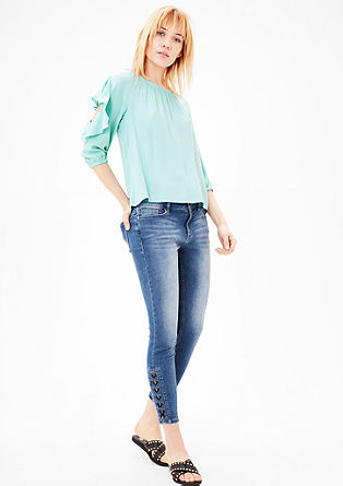 Crêpe blouse with flounces from s.Oliver