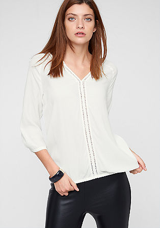 Crêpe blouse with openwork detail from s.Oliver