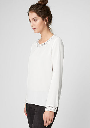 Crêpe blouse with studs from s.Oliver