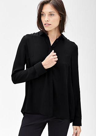 Crêpe-Bluse mit Plissee-Rücken