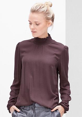 Crêpe-Bluse mit Smok-Stehkragen
