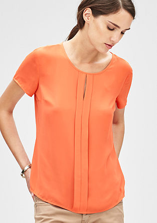 Crêpe-Blusenshirt mit Faltendetail