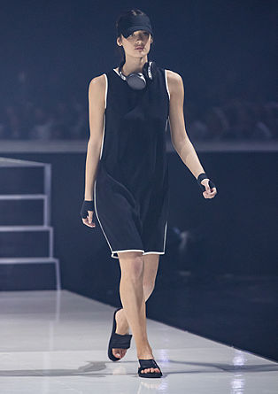 Crêpe dress with contrasting stripes from s.Oliver