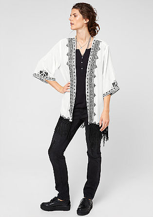 Crêpe jacket with ethnic embroidery from s.Oliver