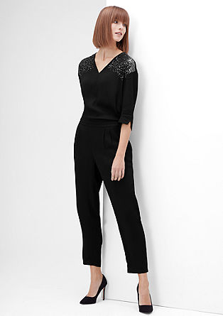Crêpe jumpsuit with sequins from s.Oliver