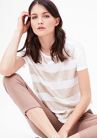 Crêpe-Shirtbluse mit Pailletten