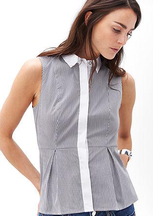 Črno-bela bluza brez rokavov