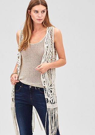 Crochet waistcoat with a fringed hem from s.Oliver