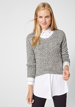 Cropped cable knit jumper from s.Oliver
