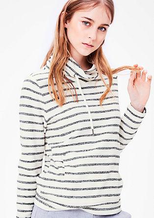 Črtast sweatshirt pulover s puli ovratnikom