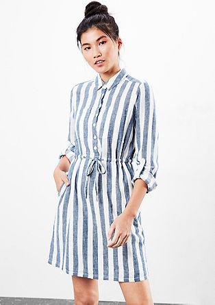 Črtasta bluzna obleka z lanom