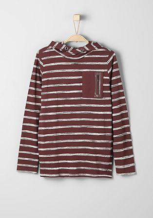 Črtasta majica s kapuco