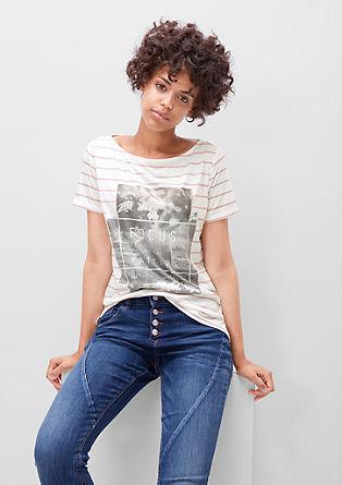Črtasta majica s kolažnim potiskom