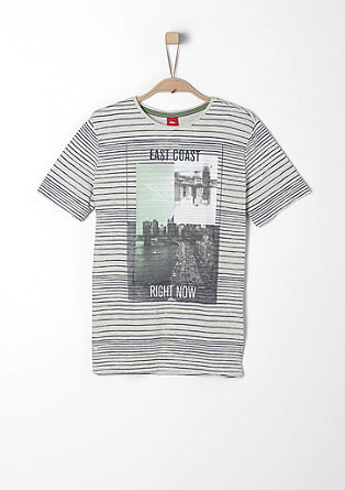 Črtasta majica z natisnjenim kolažem