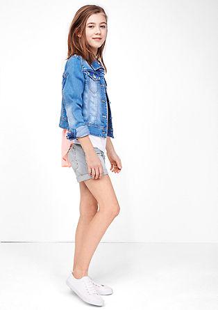 Črtaste jeans kratke hlače