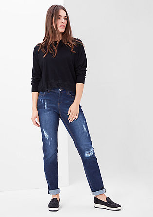 Curvy: Destroyed Stretch-Jeans