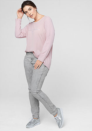 Curvy: Graue Stretch-Jeans
