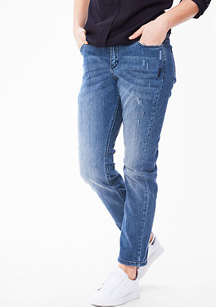 Curvy: Schmale Jeans mit Stitchings