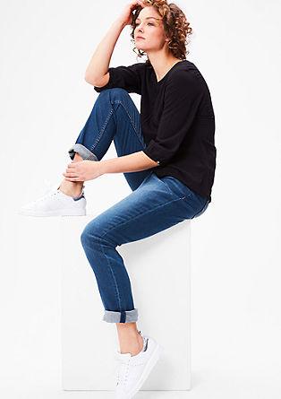 Curvy fit: jeans met kreukeffecten