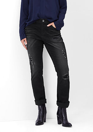 Curvy fit: stretchjeans met distressed effects