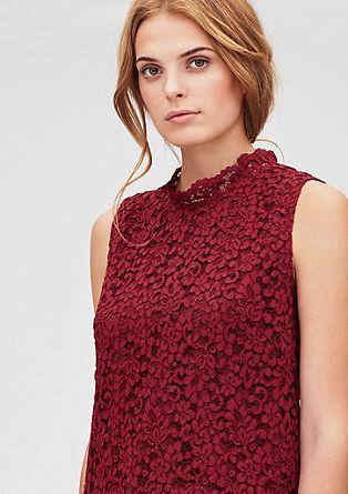 Cvetlična čipkasta bluza brez rokavov
