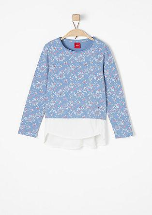 Cvetlična majica s spodnjim robom za bluze