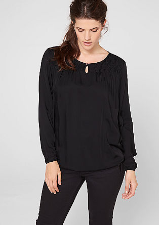 Decorative pleated viscose blouse from s.Oliver