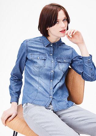 Denim blouse met drukknoopsluiting