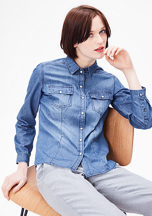 Denim blouse with press-stud placket from s.Oliver