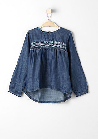 Denim blouse with smocked details from s.Oliver