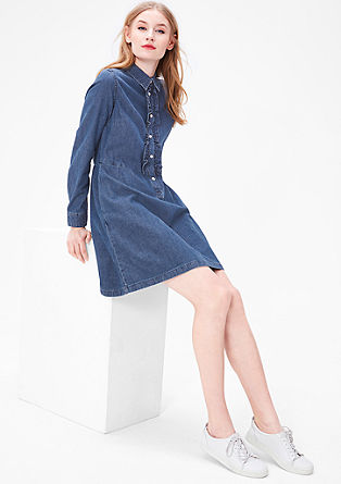 Denim dress with ruffles from s.Oliver