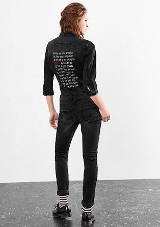 Denim jumpsuit met print op het rugpand