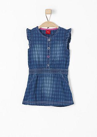 Denim jurk met een ruitpatroon