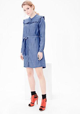 Denim-Kleid mit Rüschen