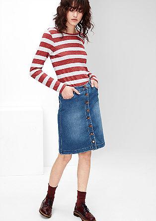 Denim rok met knoopsluiting en used look
