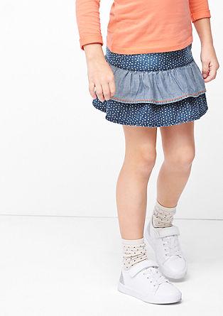Denim rok met stippen
