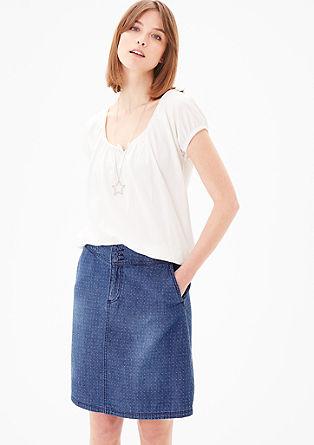 Denim rok met stippenstructuur