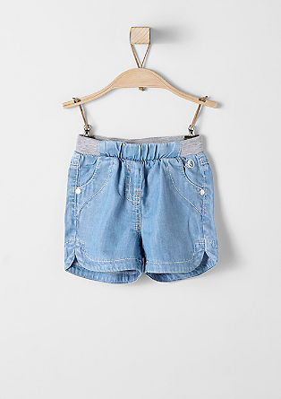 Denim shorts with a ribbed waistband from s.Oliver