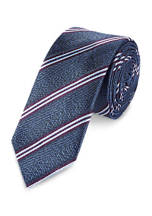Diagonally striped silk tie from s.Oliver