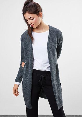 Dlouhý kabátek zjemné melírované pleteniny