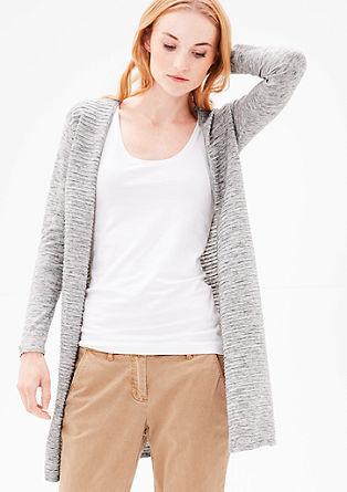 dlouhý pletený kabátek s žebrováním