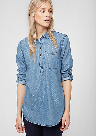 Dolga bluza iz denima z drobnim vzorcem