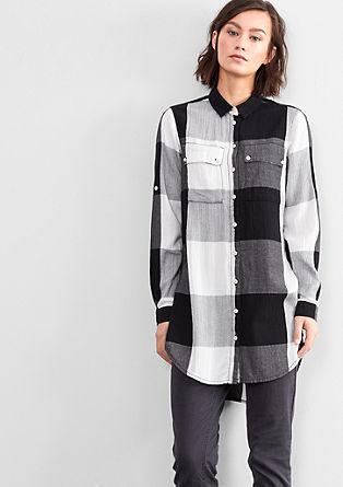 Dolga bluza s karirastim vzorcem