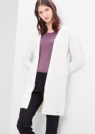 Dolga jakna iz rebraste pletenine