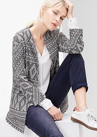Dolga jakna z žakardskim vzorcem