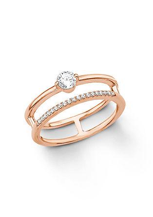 Doppel-Ring Rosé aus Silber
