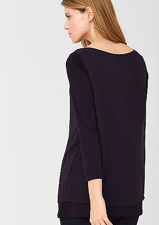 Double Layer-Shirt mit Chiffon